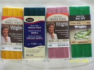 Wrights Camp;C Bias Tape Single Fold 1 2quot; w x 4 yds 103 Great colors to choose $2.99