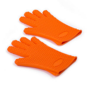 2 Silicone Glove BBQ Grill Oven Mitts Gloves 5 Finger Heavy Duty Heat Resistant