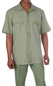 Mens' Summer Leisure Suit Walking Suit with check design Olive Milano stye 2953