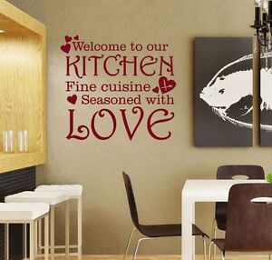 Welcome To Our Kitchen Seasoned With Love Vinyl Wall Sticker Quote Decal WQA36