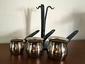 Turkish Coffee Pot Set  3  CezveWarmer Stainless Steel Korkmaz A121 Mavis