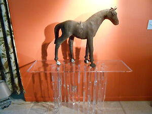 Antique Wood Carved Horse Sculpture AMAZING...leather. Great for Mid-Century !!