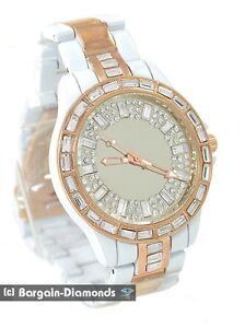 mens big rose gold white CZ ice out mirror dial watch metal bracelet unisex