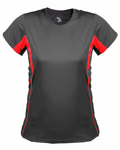 Badger Women's Double Needle Self Fabric Collar Workout T-Shirt. 4167