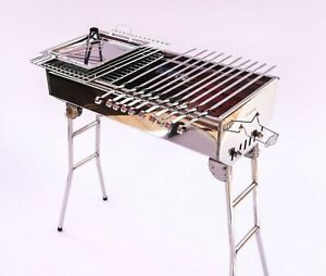 Stainless Steel Charcoal Grill Kebab BBQ Portable Mangal 10 FREE Skewers