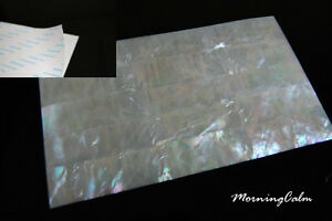 2 Sheets of White Mother of Pearl Shell Adhesive Veneer (MOP Lure Luthier Inlay)