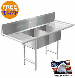 POT SINK 2 COMPARTMENT STAINLESS S. NSF APPROVED HEAVY DUTY 14GA MADE IN AMERICA