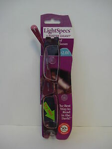 LightSpecs By Foster Grant Lighted Reading Glasses 2.00 Pink With Black Spots
