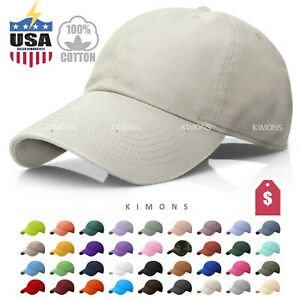 Polo Style Cotton Baseball Cap Ball Dad Hat Adjustable Plain Solid Washed Mens
