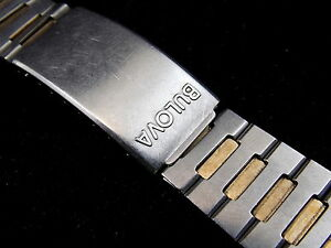 Vintage Bulova Two tone watch band bracelet 34 inch 19mm circa late 1970s