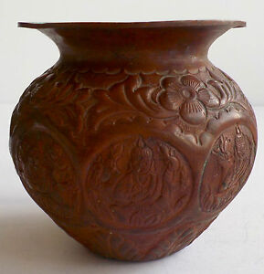 ANTIQUE BUDDHA COPPER POT ENGRAVED AND INCISED CUT WITH FLORAL DESIGN