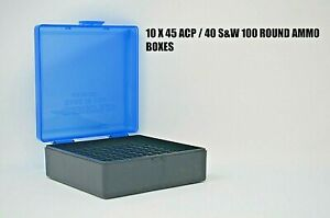 45  40  10MM (10 PACK)Ammo cases  boxes BLUE 1000 rnds of storage 45 ACP