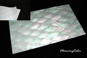 3 Sheets of Donkey Ear Shell Adhesive Veneer (MOP Lure Luthier Mother-of-Pearl)