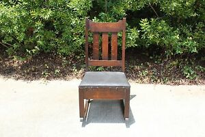 Charming Mission Oak Original Finish Rocking Chair with Sewing Drawer Ca.1910 $375.00