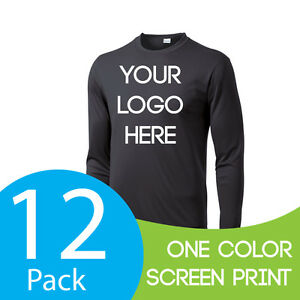 Dry Fit Shirt Long Sleeve Custom Personalized One Color Print