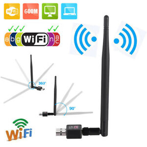 600Mbps Wireless USB WiFi Adapter Dongle Network LAN Card 802.11bgn w Antenna