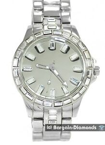 mens big steel + white CZ ice out mirror dial clubbing watch metal bracelet man
