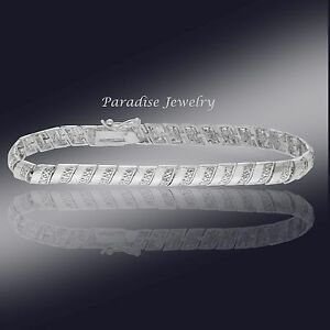 Women's 14K White Gold Finish 0.50 CT Diamond Tennis Bracelet 5-9 Inches
