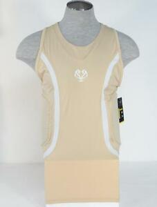 Under Armour MPZ Khaki & White Padded Compression Basketball Tank Men's NWT