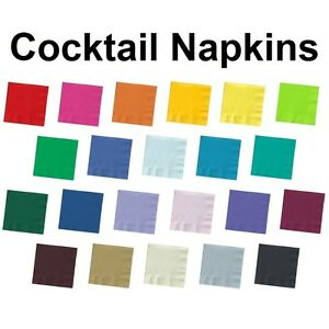2 ply Paper Beverage Cocktail Napkins Bar Party Small Solid Colors Disposable