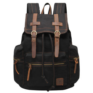 Vintage Canvas Leather 13 Laptop Backpacks Men Travel Rucksack College Book Bags