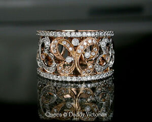 18K(750) Rose Gold Elegant Victorian Diamond Butterfly design estate ring
