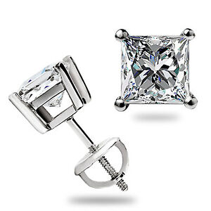 1.50 Ct Princess Cut Lab Diamond Stud Earrings Solid 14K White Gold Screw Back