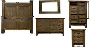 Dark Oak Finish Bedroom Set Western Rustic Real Wood Cabin Lodge Turnbuckle