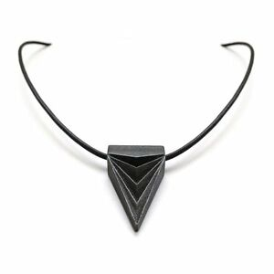 Womens Black Steel Triangle Pendant Necklace on Genuine Leather Cord Gamer Gift