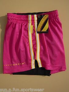 NWT Hot PinkBlack [XS] NIKE PRO LIVESTRONG DOUBLE UP Women's Dri-FIT Shorts XS