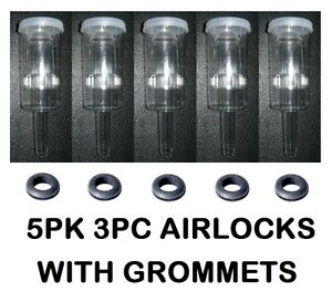 AIRLOCKS 5 3PC 5 SINGLE GROMMETS BEST QUALITY VINTAGE SHOP BEER WINE AIR LOCK