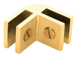 Gold Anodized Aluminum Two-Way 90 Degree Glass Connector