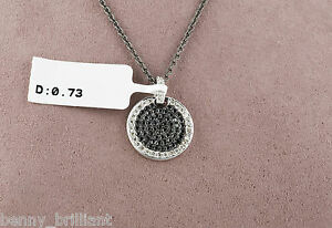 0.73 CT 14k Solid White Gold White amp; Black Diamond Pendant Necklace