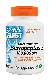 High Potency Serrapeptase 120,000 SPU Doctors Best 90 VCaps