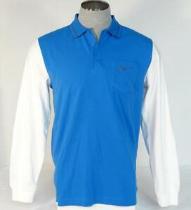 Nike Golf Sport Dri Fit Blue & White Long Sleeve Slim Fit Polo Shirt Mens NWT