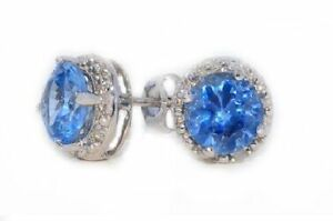 2 Carat Blue Topaz & Diamond Round Stud Earrings White Gold Silver