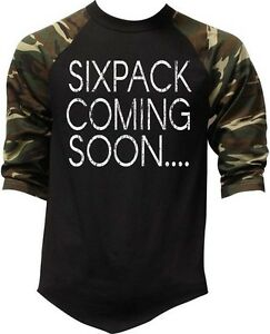 Men's Six Pack Coming Soon Camo Baseball Raglan T Shirt Tee Army Workout Gym MMA