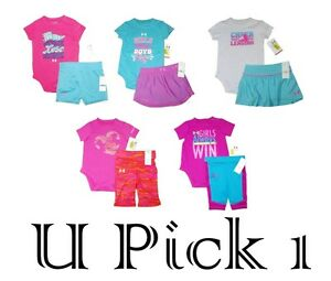 Under Armour Shirt Shorts 2 pc Outfit Set Girls Bodysuit Skirt Athletic Top UA $19.32