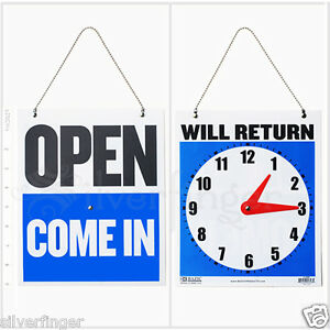 • OPEN CLOSED Sign WILL RETURN • CLOCK : Business Hours —Hanging 2 Sided 9x7½quot; $3.91