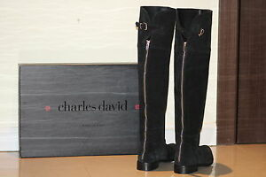 Charles David Rodem Tall Suede riding Boot Size- 8 (Black)