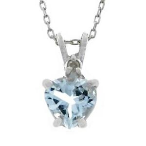 6mm Genuine Aquamarine 1 Carat Heart & Diamond Pendant .925 Sterling Silver