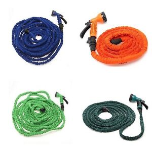 Latex 25 50 75 100 FT Expanding Flexible Garden Water Hose with Spray Nozzle $22.70