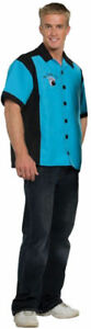 Morris Costumes Men's Uniforms Sports Bowling Shirt Turquoise 42-46. UR29054