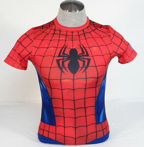 Under Armour Spiderman Fitted Short Sleeve Athletic Shirt Youth Boys Sizes NWT