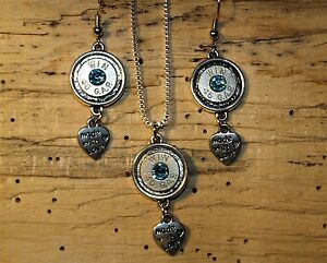 Handmade 45 Bullet Necklace & Earrings w Heart Charms (nickelsilver 45's) S652