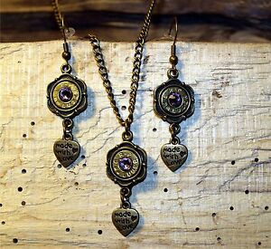 Handmade 9 mm Bullet Necklace & Earrings w Heart Charms (brass 9's) S650