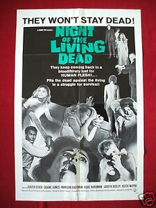 NIGHT OF THE LIVING DEAD 1968 ORIGINAL MOVIE POSTER GEORGE A. ROMERO'S HALLOWEEN