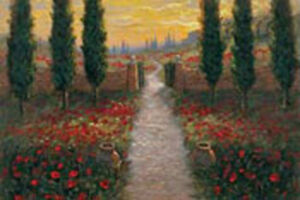 Tuscan Portal by Jon McNaughton Tuscany Landscape Red Poppies Sunset Paper Print