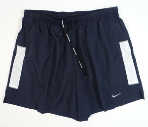 Nike Dri Fit Navy Blue & White Brief Lined Running Shorts Men's NWT