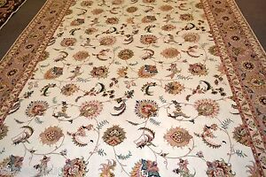 Fine Taabriz All Over Design Persian Area Rug 8x11 50 Raj Wool & ilk